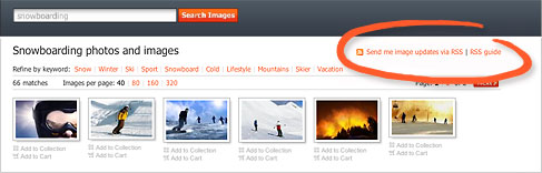 RSS link on crestock search result page