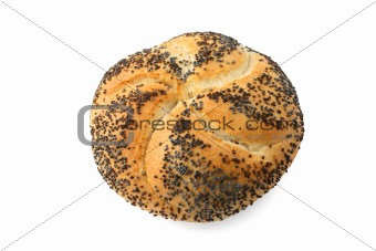 Kaiser roll with poppy seed