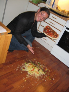 Even a single chef can make a big mess<br /> - on my buddy's floor...