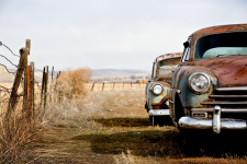 Vintage cars abandoned and rusting away <br>in rural Wyoming