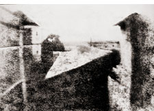 Niépce's first permanent photographic image,<br> created in 1827<br><br>
