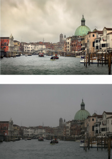 Venice cityscape after and before Photoshop