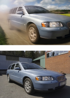 Car after and before photoshop