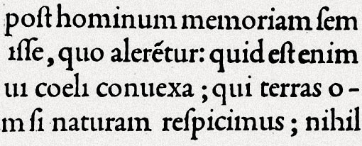 Bembo type sample from De Aetna, published 1495