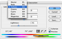 The hue/saturation dialogue box