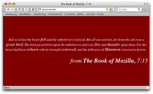 Firefox 'Book of Mozilla' about screen