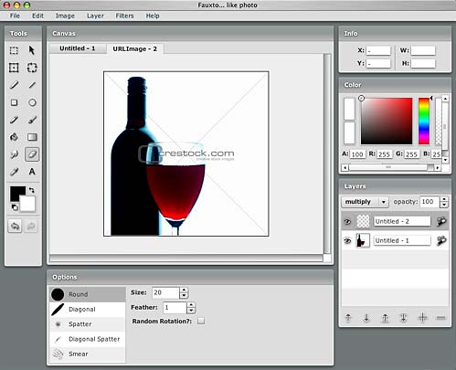 Screenshot of the Fauxto photo editor's interface.