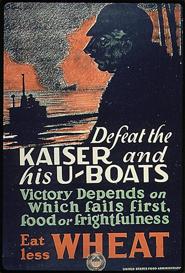 US War Propaganda Poster. 4. Submarine warfare was a new and terrifying