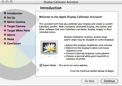Mac OSX Display Calibrator Assistant