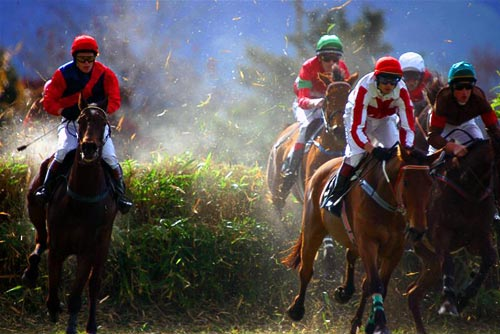 Horses clear the fence in the steeplechase