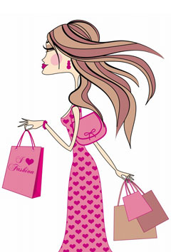 Shopping woman, vector
