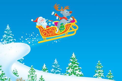 Santa Claus and Reindeer flies in the sleigh