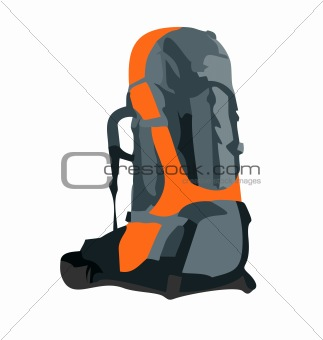 Realistic illustration of tourism backpack StockPhoto