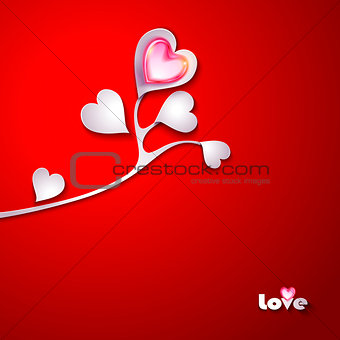 Branch of paper tree with hearts StockPhoto