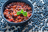 Bowl of black bean chili