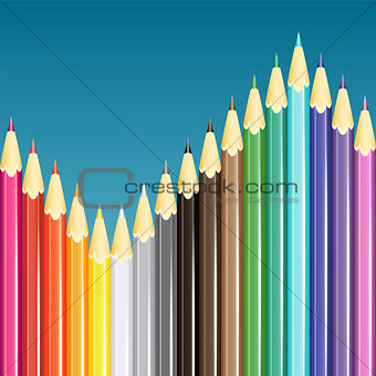 Colorful pencils background. Vector illustration. StockPhoto
